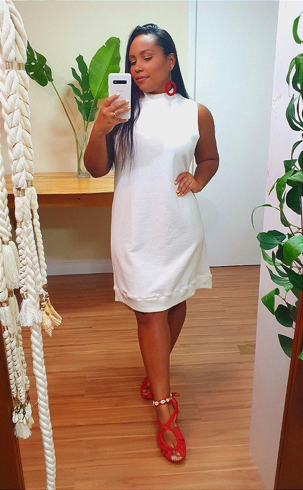 Vestido Farm Curto Moletom Off White