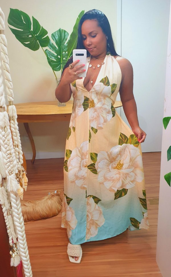 Vestido Farm Cropped Ano Novo Floral