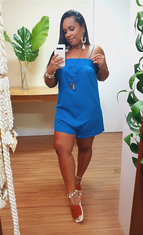Macaquinho Dress to Decote Pespontado Azul Arara