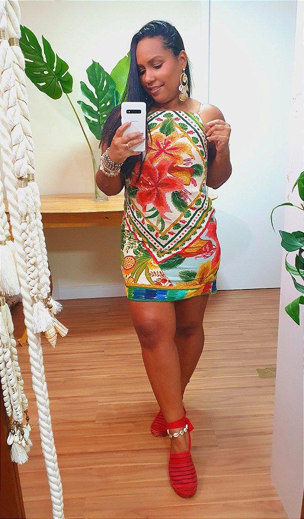 Vestido Farm Curto Bordado Flor Lenço