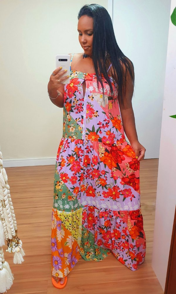 Vestido Longo Estampa Rainbow Dress To