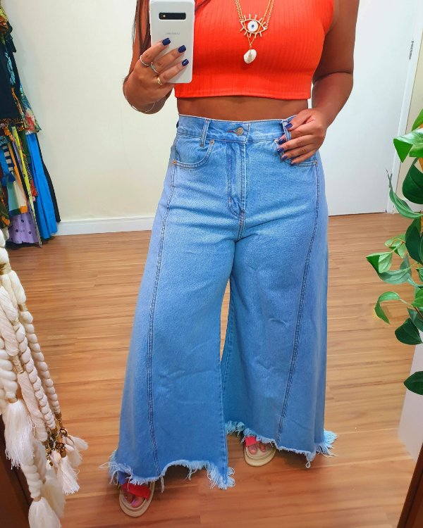 Calça Pantalona Jeans Farm