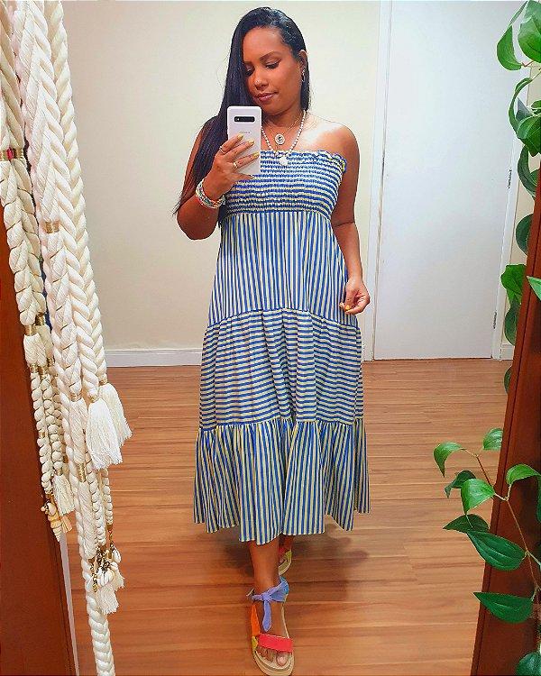 Vestido Colombia Listrado Azul JOY