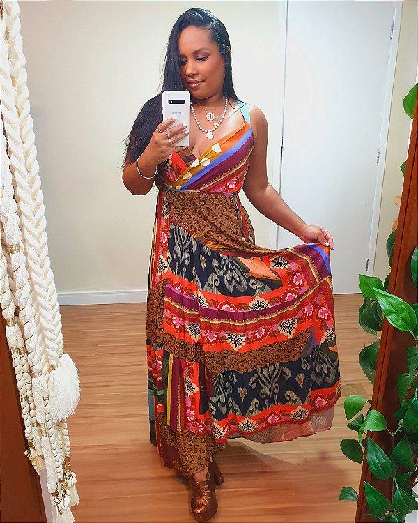 Vestido Longo Marias estampas Patch Dress To
