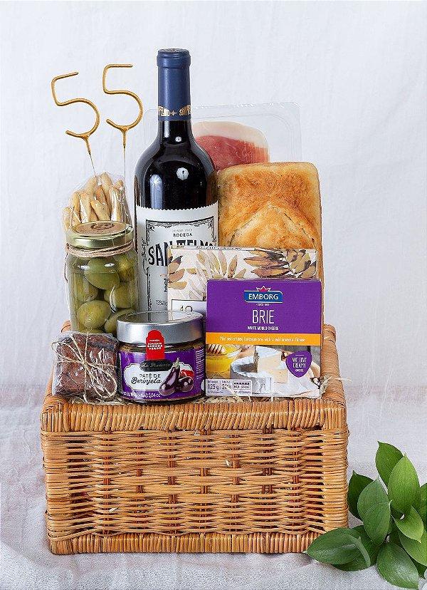 Cesta Aniversário com Vinho