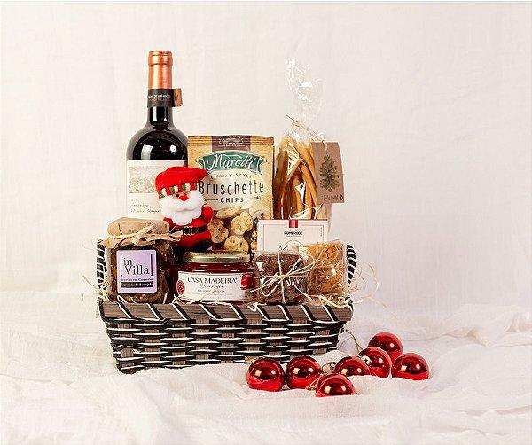 Cesta de Natal com Vinho e Papai Noel