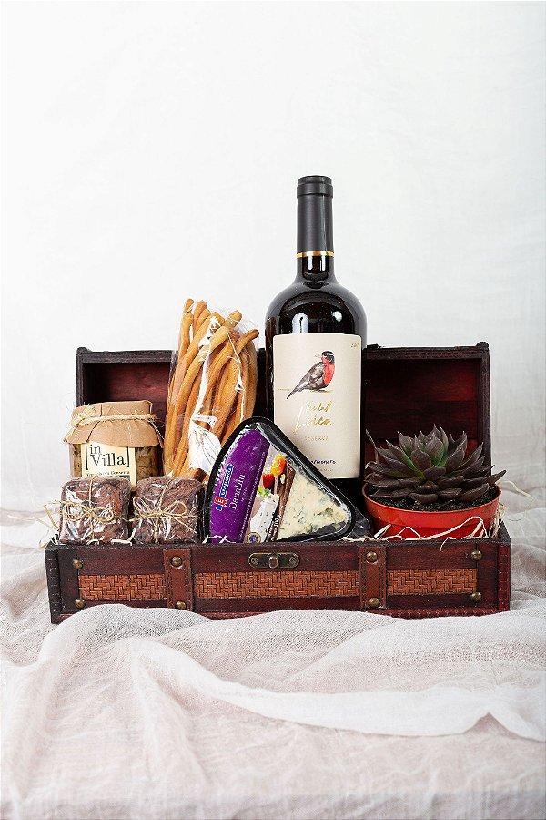 Cesta Vinho e Suculenta