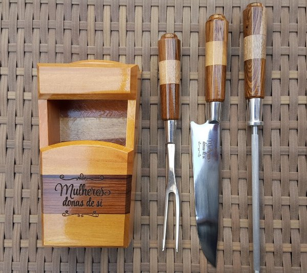 Cepo de madeira com 3 peças