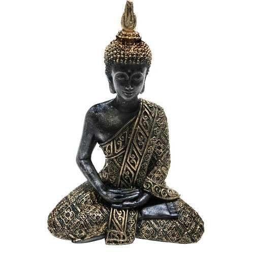 Estátua Buda Hindu Tailandês 20 Cm Prateada Ou Dourada Vitrine Zen