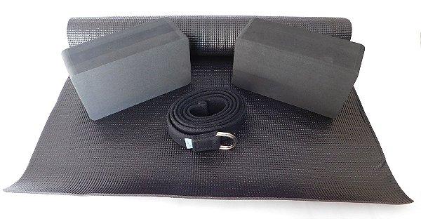 Kit para prática de Yoga - 4 itens - Várias cores