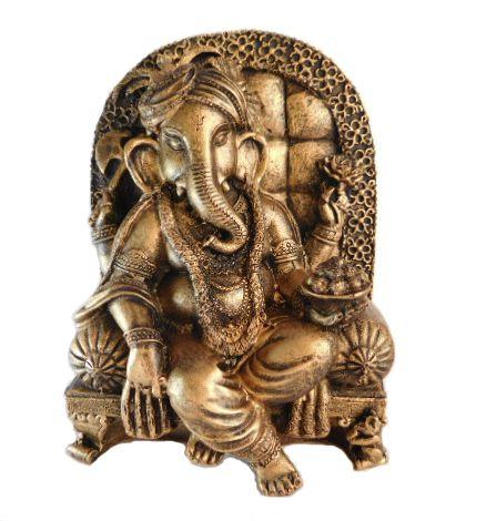 Estátua Ganesha Dourado - 19 cm
