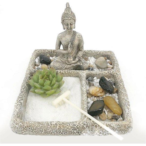 Enfeite Jardim Zen - Buda com Flor de Lotus