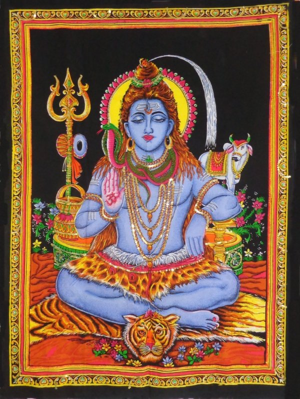 Painel Indiano em Tecido - Deus Shiva
