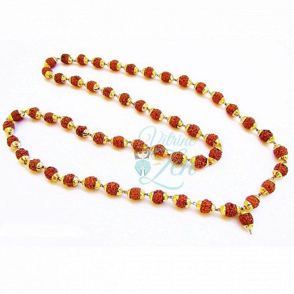 Japamala 54 contas - Rudrasha 10mm - Dourado