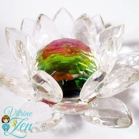 Enfeite Flor de Lótus Cristal Gigante 14 cm