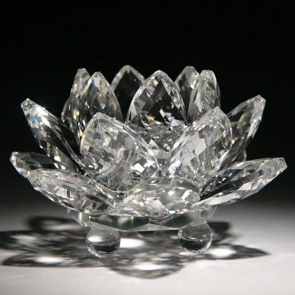 Flor de Lótus de Cristal Transparente Brilhante 11 cm