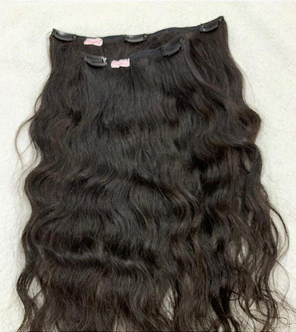 Mega hair tic-tac (2 faixas) mispira ondulado intenso - cor #1b preto natural - humano