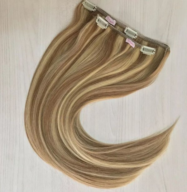 Mega hair tic-tac (2 faixas) mispira liso - cor #10/613 mechas loiro escuro/ loiro ultra claro - humano