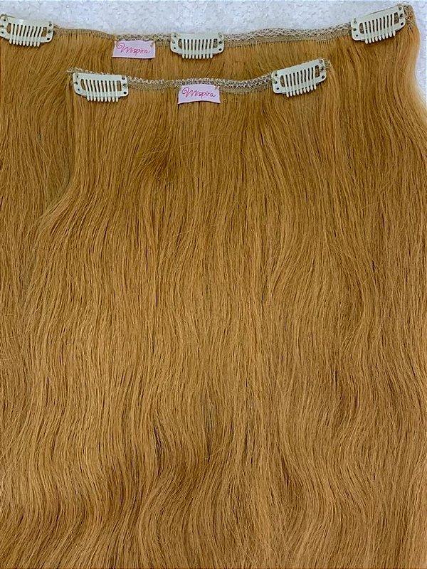 Mega hair tic-tac (2 faixas) mispira liso - cor #27 loiro natural escuro - humano