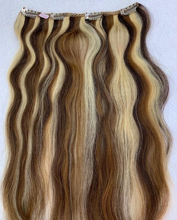 Mega hair tic-tac mispira ondulado - cor #6/4 mechas loiro castanho claro/escuro - humano