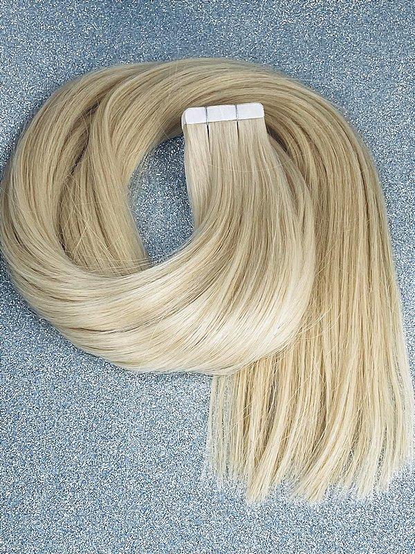 Mega hair em fita adesiva mispira SUPER PREMIUM liso - cor #60 loiro platinado Luxury - 20 fitas