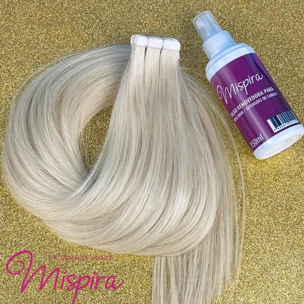 Mega hair em fita adesiva mispira SUPER PREMIUM liso - cor #60 loiro platinado– humano - 12 fitas