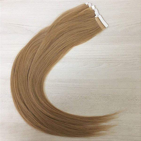 Mega hair em fita adesiva mispira SUPER PREMIUM liso - cor #18 loiro médio – humano - 12 fitas
