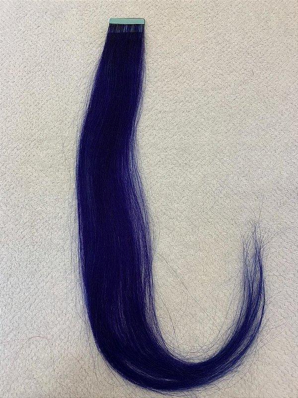 Mega hair fita adesiva mispira liso linha colors z - cor  azul - humano - 4 fitas