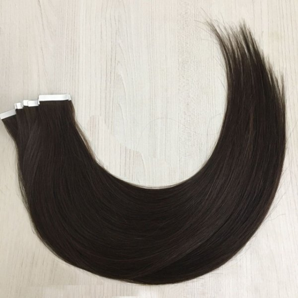 Mega hair em fita adesiva mispira SUPER PREMIUM liso - cor #2 castanho natural – humano - 8 fitas