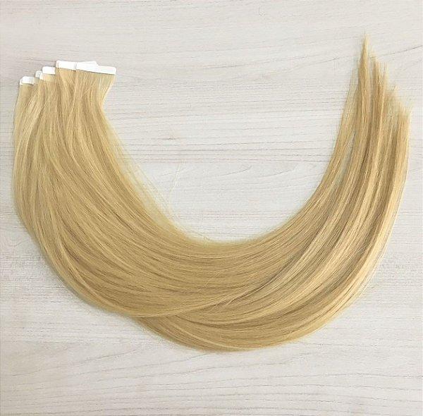 Mega hair em fita adesiva mispira SUPER PREMIUM liso - cor #613 loiro ultra claro – humano - 8 fitas