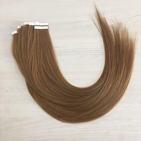 Mega hair em fita adesiva mispira SUPER PREMIUM liso - cor #10 loiro escuro – humano - 8 fitas