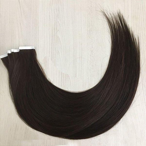 Mega hair em fita adesiva mispira SUPER PREMIUM liso - cor #2 castanho natural – humano - 20 fitas