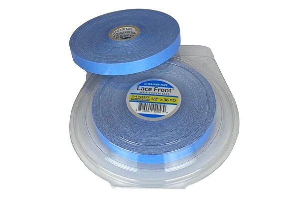 Fita adesiva em rolo para mega hair e prótese capilar - azul americana lace front – 36m x 1,2