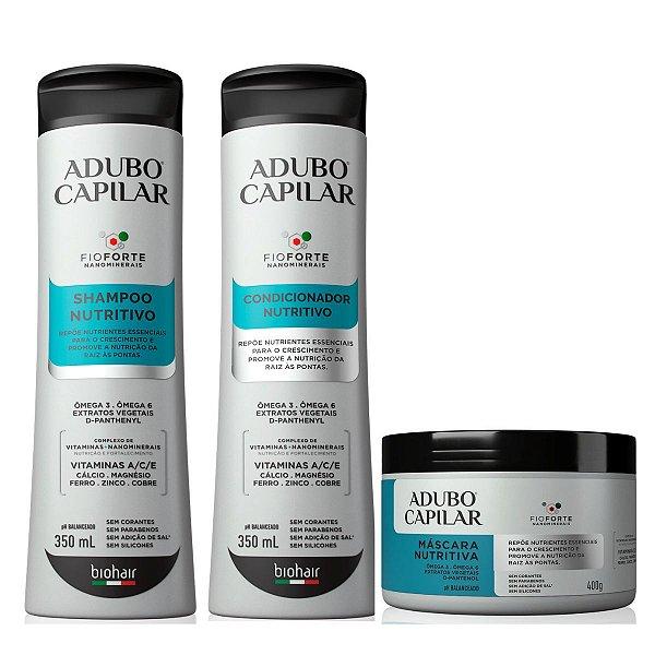 Shampoo + Condicionador + Máscara Nutritiva Adubo Capilar