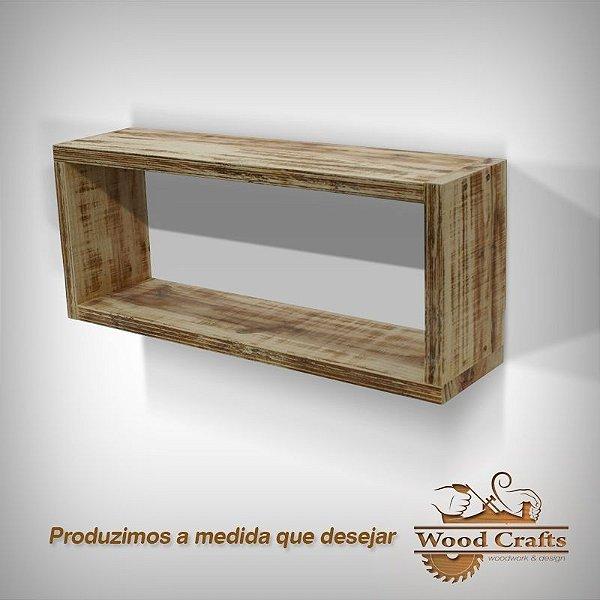 Nicho Decorativo com Madeira Envelhecida - 90x40x25cm