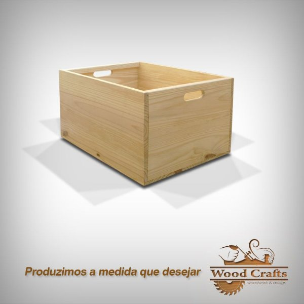 Caixa de Madeira Lisa - Wood Crafts - 60x45x40cm