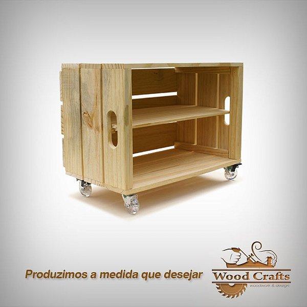 Sapateira de Caixote com Rodízios - Wood Crafts - 53x35x30cm