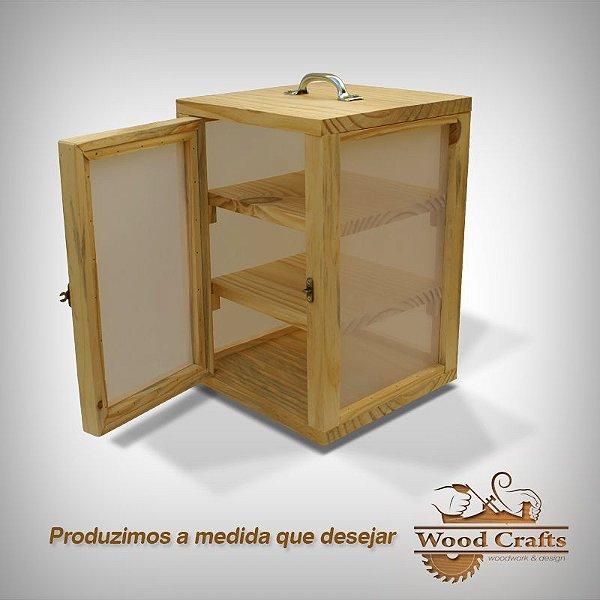 Caixa para Curar 03 Queijos com Prateleira Removível- Wood Crafts - 25x25x35 cm