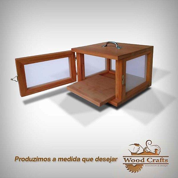 Caixa para Curar 01 Queijos - Wood Crafts - Madeira Demolição - 28x28x18 cm