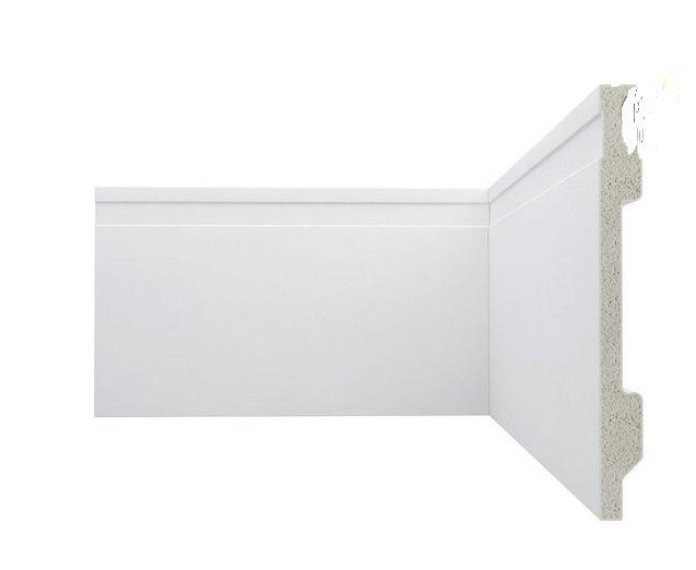 Rodapé Poliestireno Branco 15 cm Frisado - valor por ml