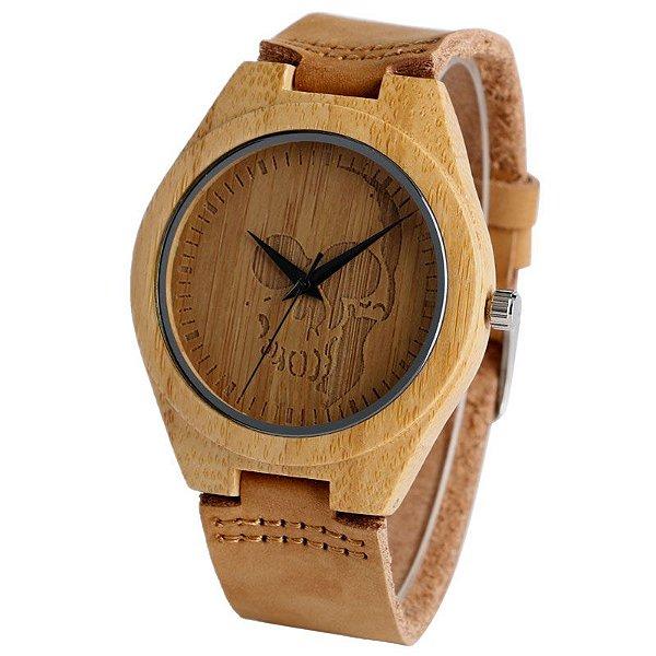 Relógio Yusuya Skull Bambu