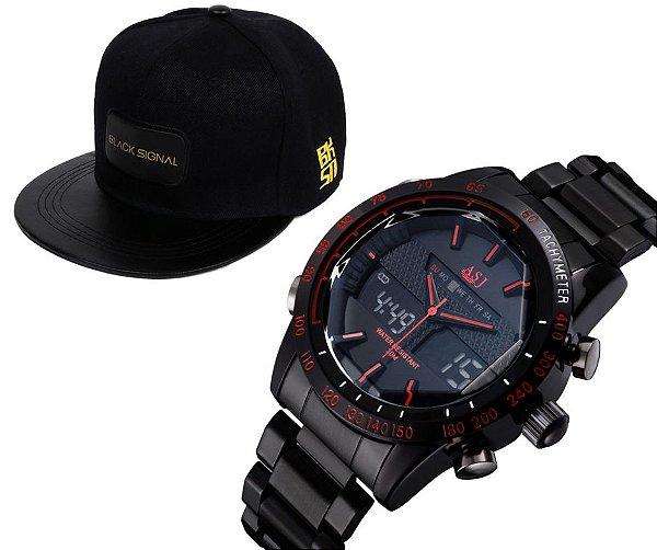 308bbf0e15f Relógio ASJ Steel + Boné Black Signal - Dali Relógios