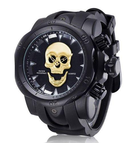 Relógio Masculino Big Dial Skull - Aço Inox + 1 Brinde Surpresa