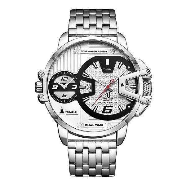 Relógio Weide Dual Time - Aço Inox