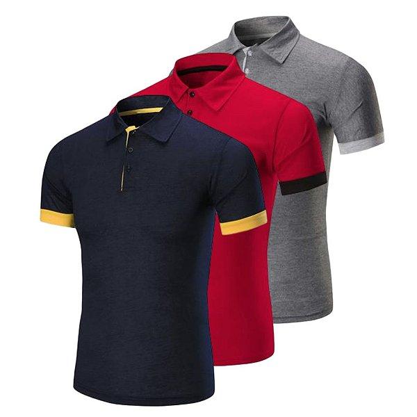Kit com 3 - Camisa / Camiseta Polo Masculina