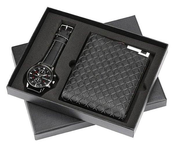 Kit Presente para Homens com 1 Relógio + 1 Carteira em Couro