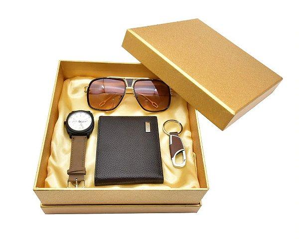 Kit Presente para Homens com 1 Relógio + 1 Carteira + 1 Óculos + 1 Chaveiro