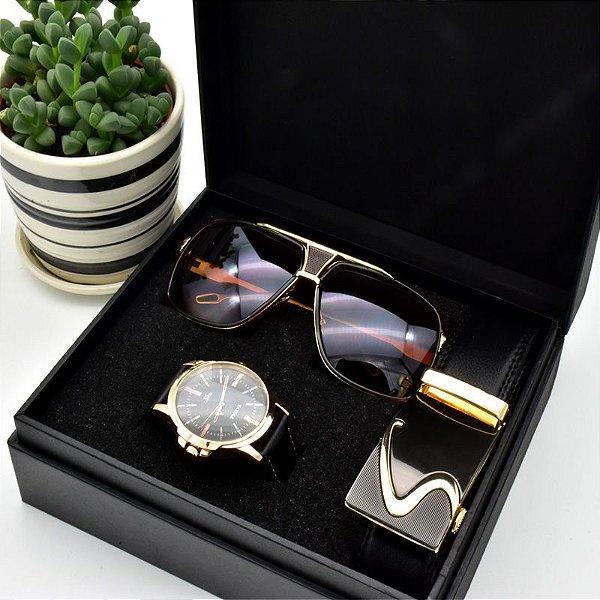 Kit Presente para Homens com 1 Relógio + 1 Óculos de Sol + 1 Cinto