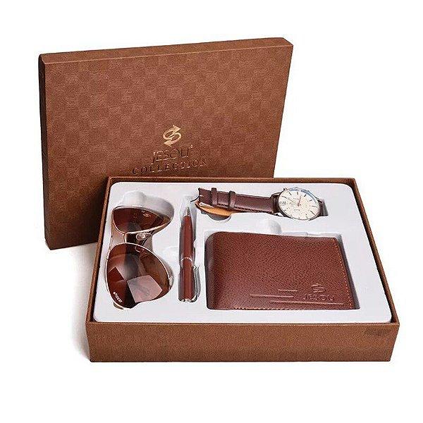 Kit Presente para Homens com 1 Relógio + 1 Óculos de Sol + 1 Carteira + 1 Caneta