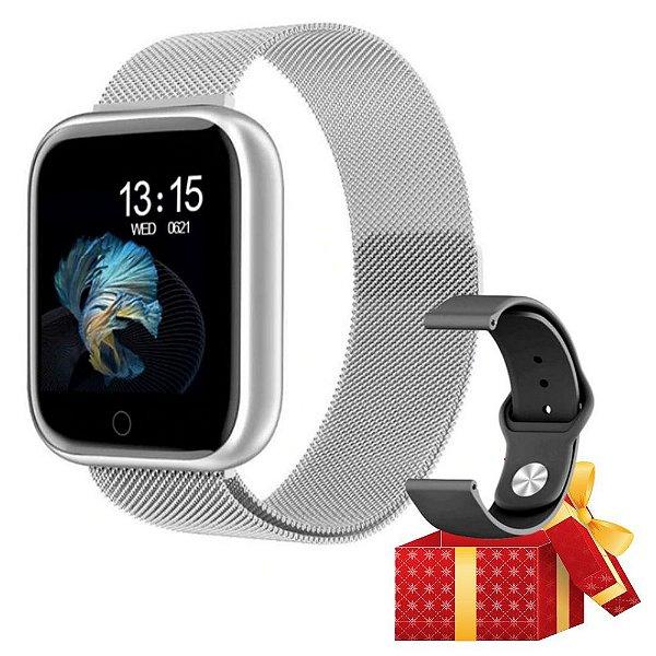 Relógio Eletrônico Smartwatch CF T80  - Android e iOS - + 1 Pulseira de Brinde - Conecta com STRAVA